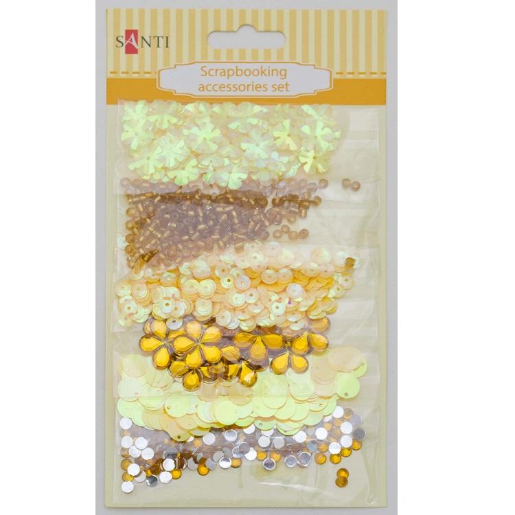Набор декоративных украшений для скрапбукинга, 6шт/уп., желтый от Santi