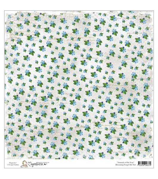 Бумага для скрапбукинга Blooming Forget Me Not 30*30 см от Magnolia