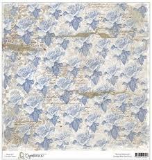 Бумага для скрапбукинга Vintage Blue Ink Roses 30*30 см от Magnolia