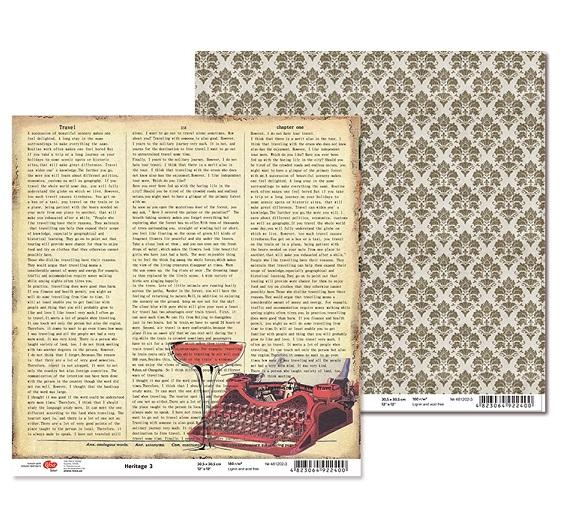 "Двусторонняя бумага ""Heritage"" 3, 1 лист , 30*30 см от Rosa"