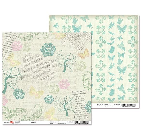 "Двусторонняя бумага ""Flora"" 5, 1 лист , 30*30 см от Rosa"