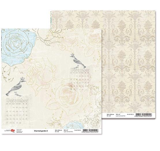 """Двусторонняя бумага """"Charmed garden"""" 3, 1 лист , 30*30 см от Rosa"""