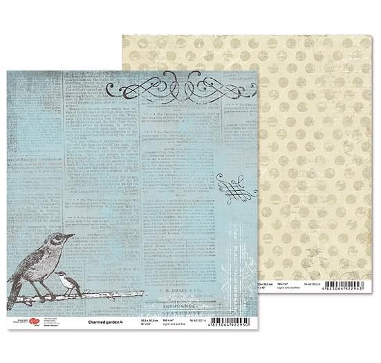 """Двусторонняя бумага """"Charmed garden"""" 4, 1 лист , 30*30 см от Rosa"""