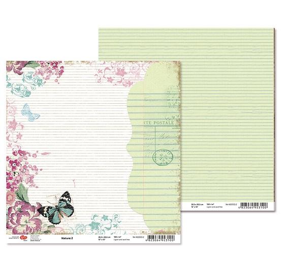 """Двусторонняя бумага """"Nature"""" 2, 1 лист , 30*30 см от Rosa"""