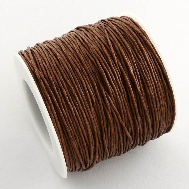 Вощенный шнур темно коричный , 84 м , толщина 1 мм