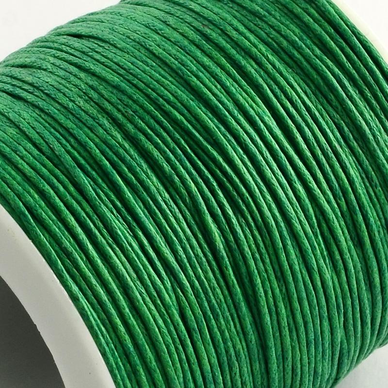 Вощенный шнур зеленый , 84 м , толщина 1 мм