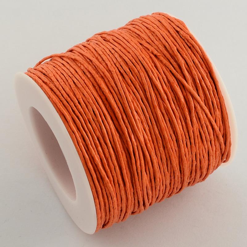 Вощенный шнур ярко-оранжевый  , 84 м , толщина 1 мм