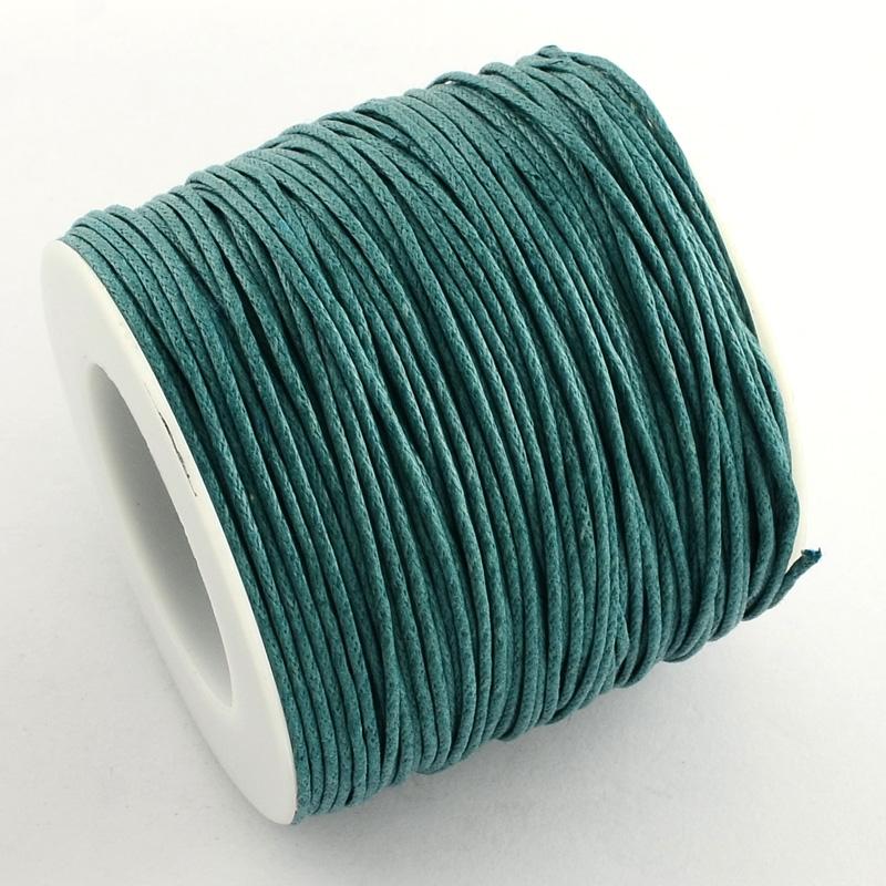 Вощенный шнур цвет морской волны, 84 м , толщина 1 мм