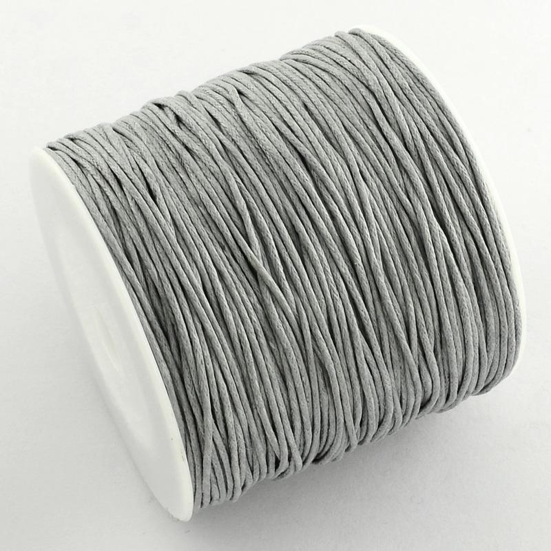 Вощенный шнур светло серый, 84 м , толщина 1 мм