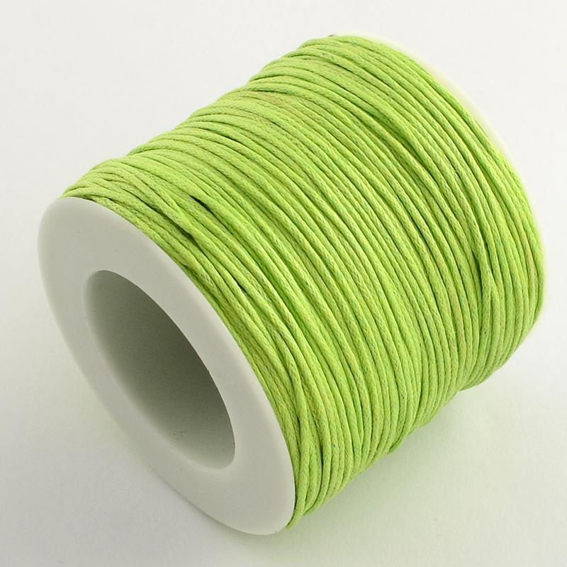 Вощенный шнур цвет лайма, 84 м , толщина 1 мм