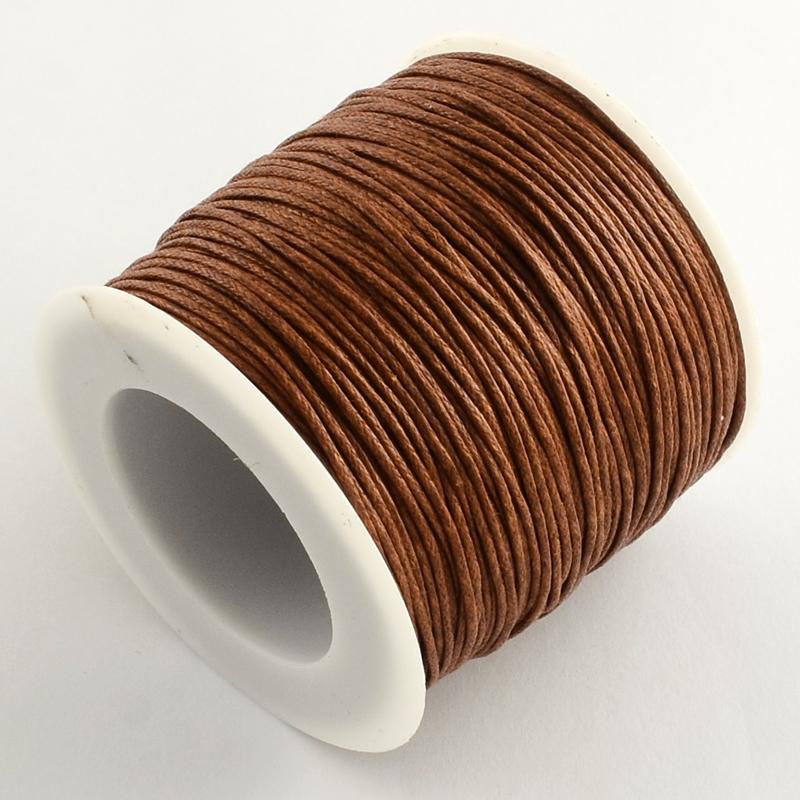 Вощенный шнур коричневый, 84 м , толщина 1 мм