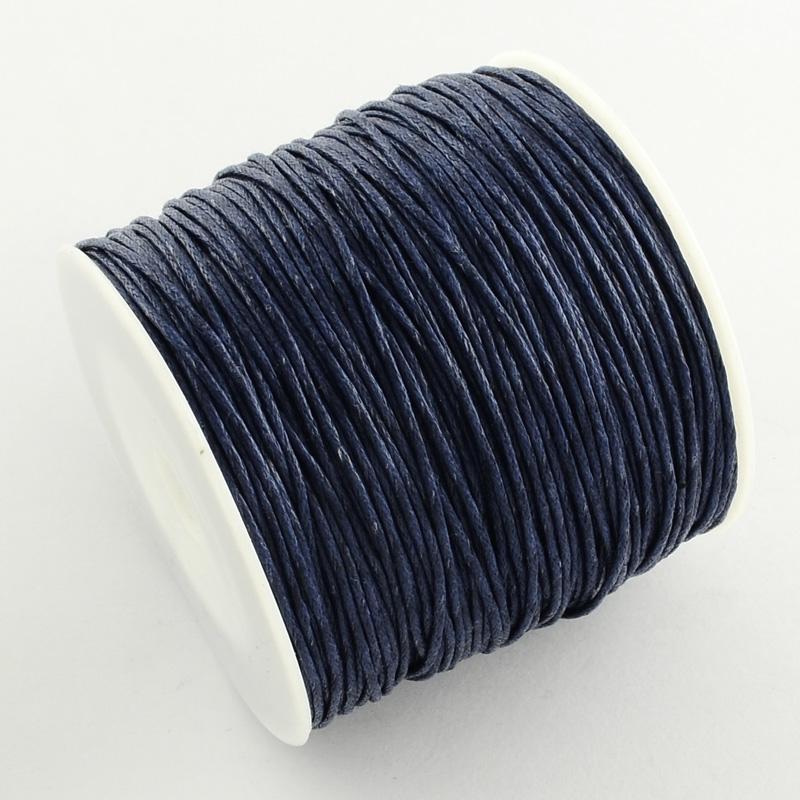 Вощенный шнур темно-синий, 84 м , толщина 1 мм