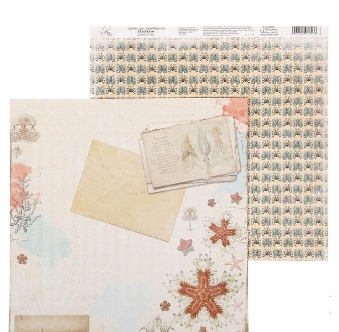 """Бумага для скрапбукинга """"Письмо"""", 29,5*29,5 см 180 гр/м2 от АртУзор"""