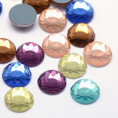 Набор стеклянных кабошонов разноцветный , 10 шт , 12*2 мм