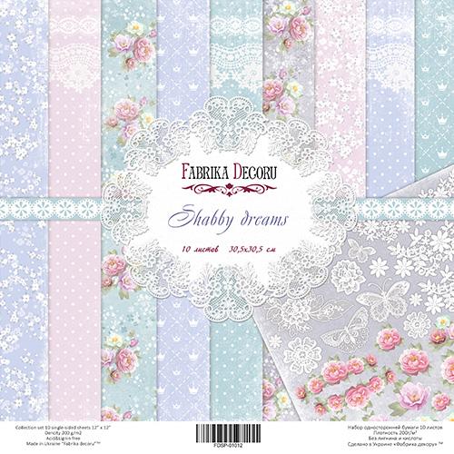 """Набор скрапбумаги """"Shabby Dreams"""", 30.5*30.5 см от Фабрика Декора"""