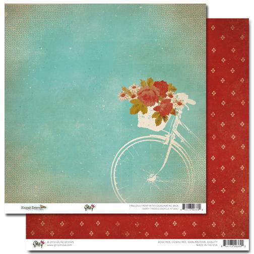 Двусторонняя скрапбумага Happy Travels - Bicycle от Glitz Design