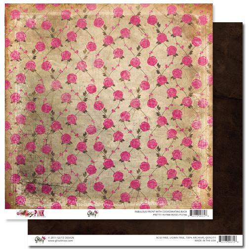 Двусторонняя скрапбумага Pretty in Pink - Roses от Glitz Design
