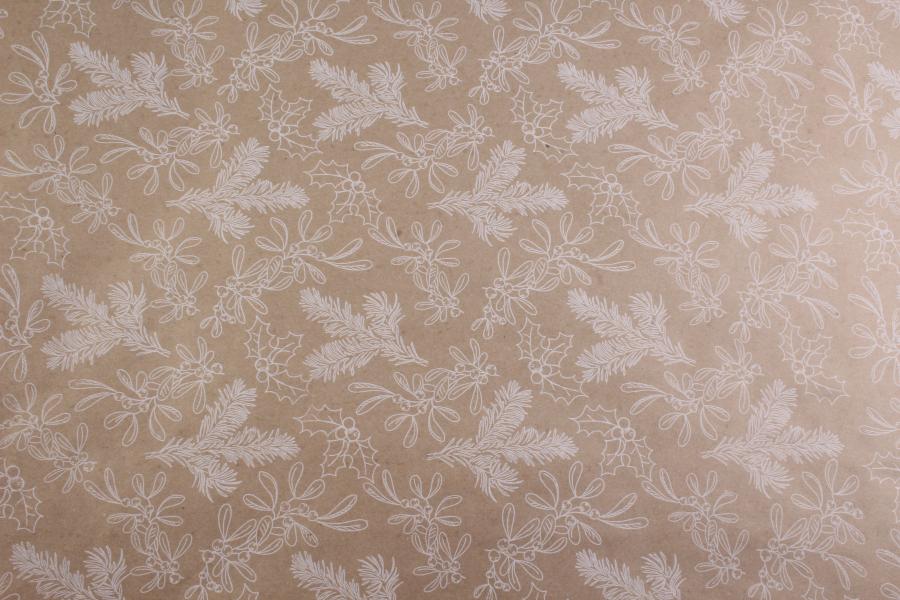 Бумага упаковочная новогодняя, Белые веточки, 8х0,7м, 80 г/м²