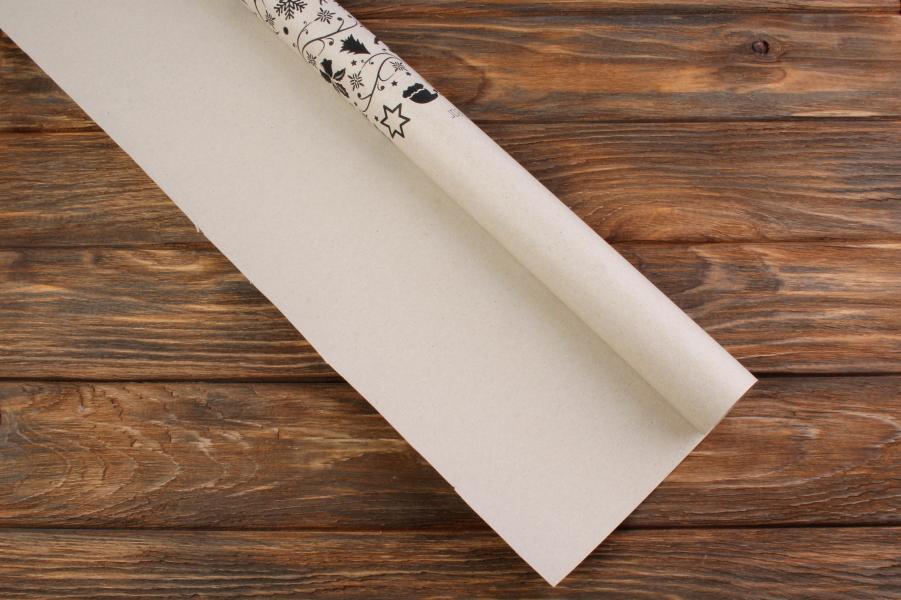 Бумага упаковочная новогодняя, Happy New Year, 8х0,7м, 80 г/м²