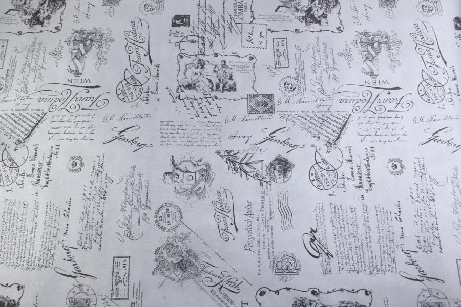 Бумага крафт, Открытка, серебро, черная, 8x0,69м