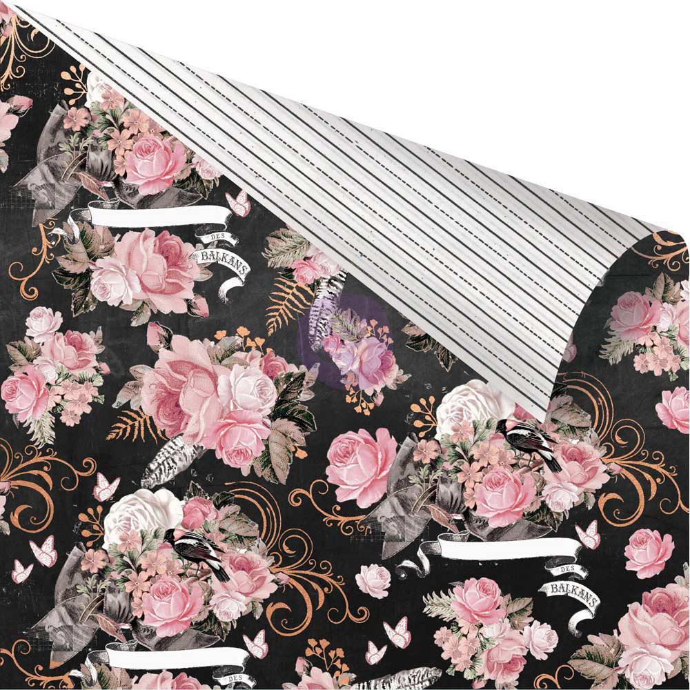 Двусторонняя скрапбумага Dark Florals - Amelia Rose, 30x30 Prima