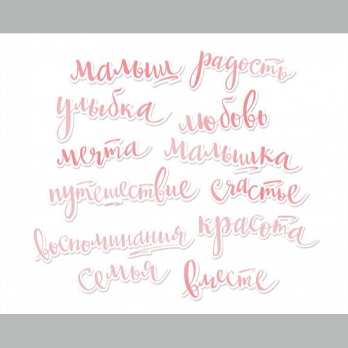 Ацетатные высеченные слова c фольгированием Pink 12шт  Scrapmir