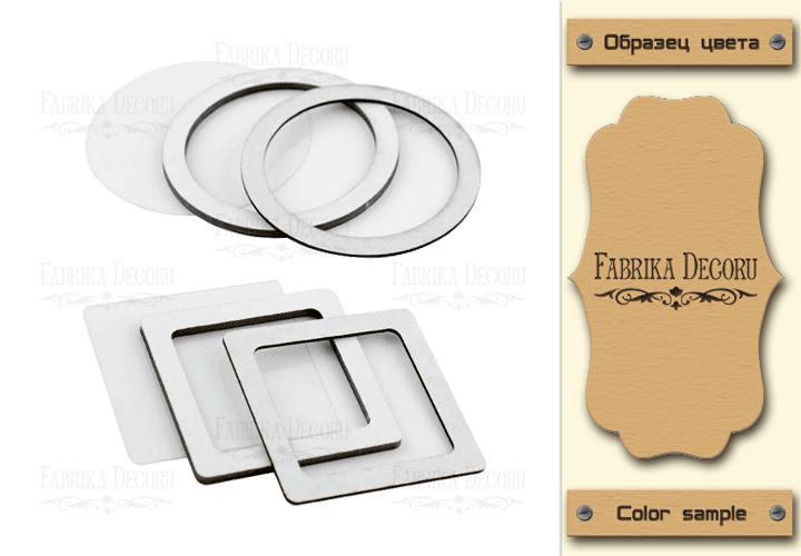 Набор заготовок для шейкеров Круг и квадрат 6x6-6x6 Kraft-Milk Фабрика Декору