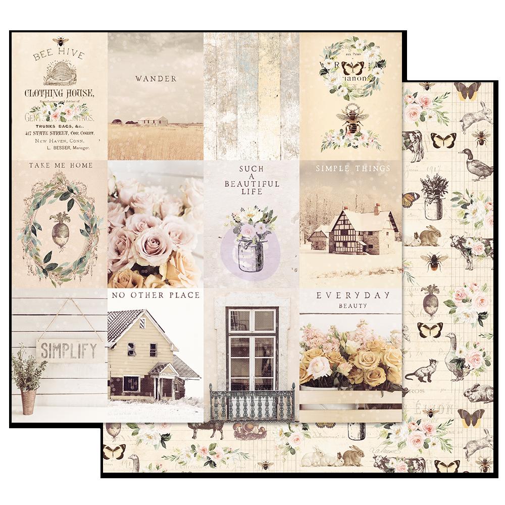 Двусторонняя бумага Simple Things - Spring Farmhouse, с фольг.,  30х30 см, Prima