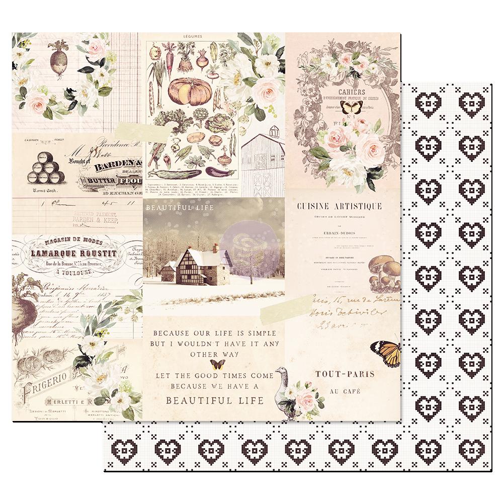 Двусторонняя бумага  Wander - Spring Farmhouse, с фольг.,  30х30 см, Prima