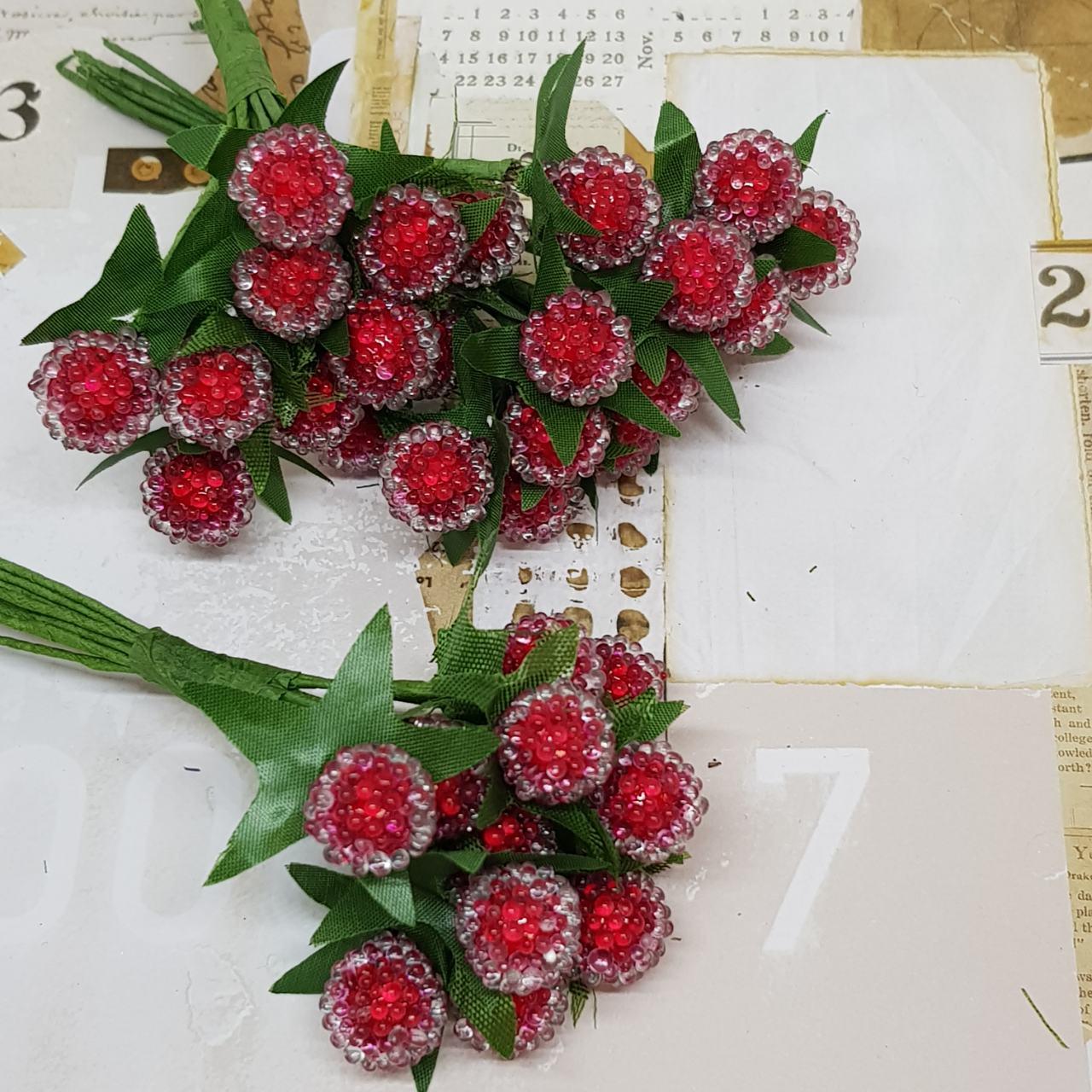 Букет ягодок, сахарный, красный, 12 шт, 10 мм