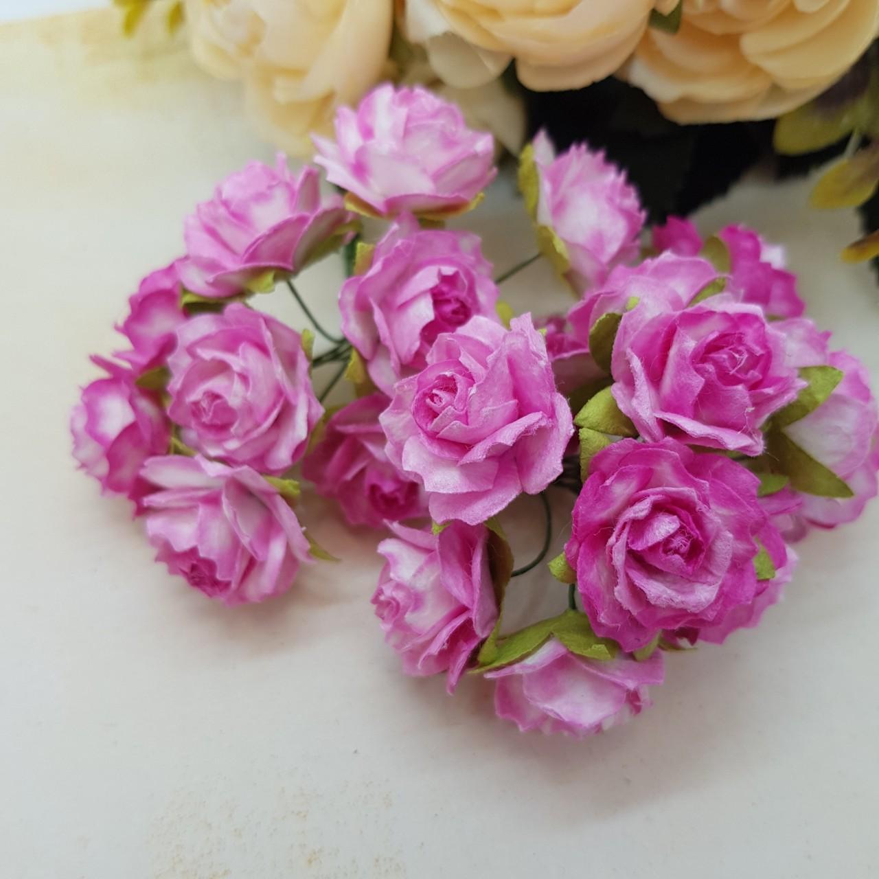 Набор диких розочек 25 мм, ярко-розовый, 5 шт