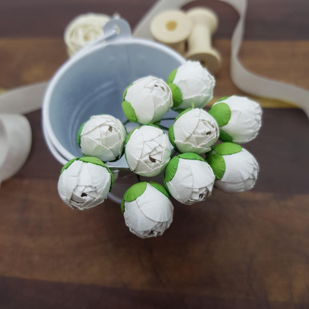Бутон пионов, 5 шт, 15 мм, белый, Цветочная Фея