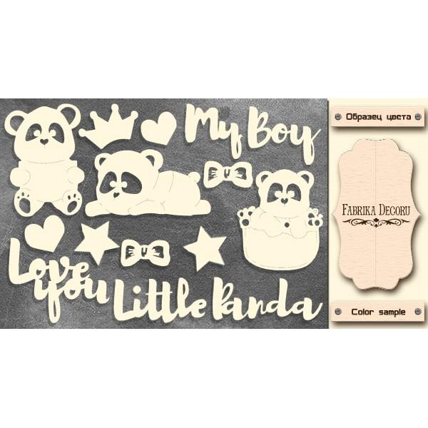 Набор чипбордов My little panda boy 1, молочный, Фабрика Декору