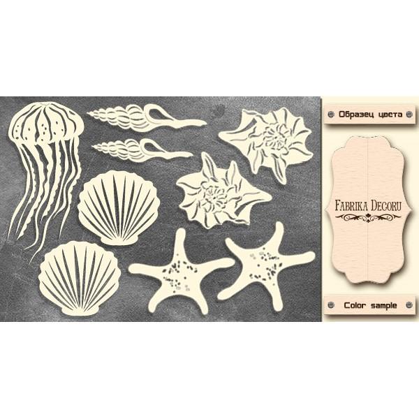 Набор чипбордов Морские ракушки, молочный, Фабрика Декору