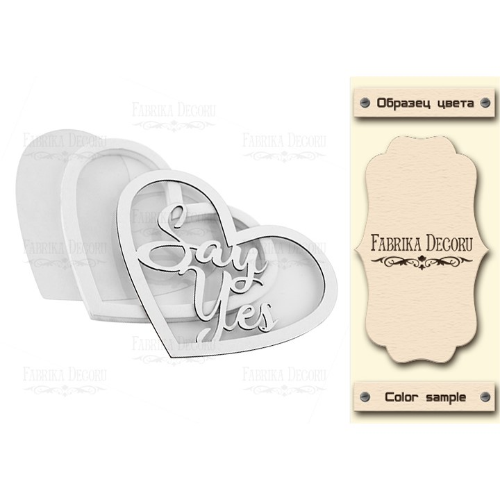 Заготовка для шейкера Heart-Say yes 9.8х8.3cm color_Light_milk, Фабрика Декору