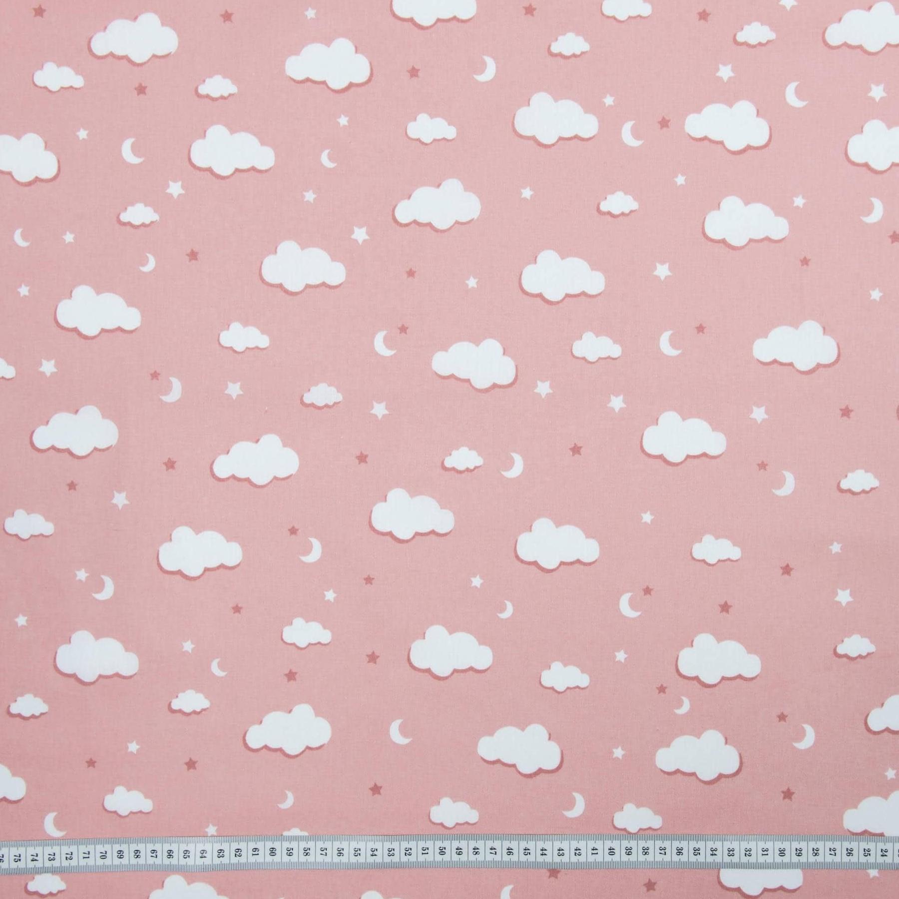 Хлопок Тучки розовые, 50х55 см, плотность 120