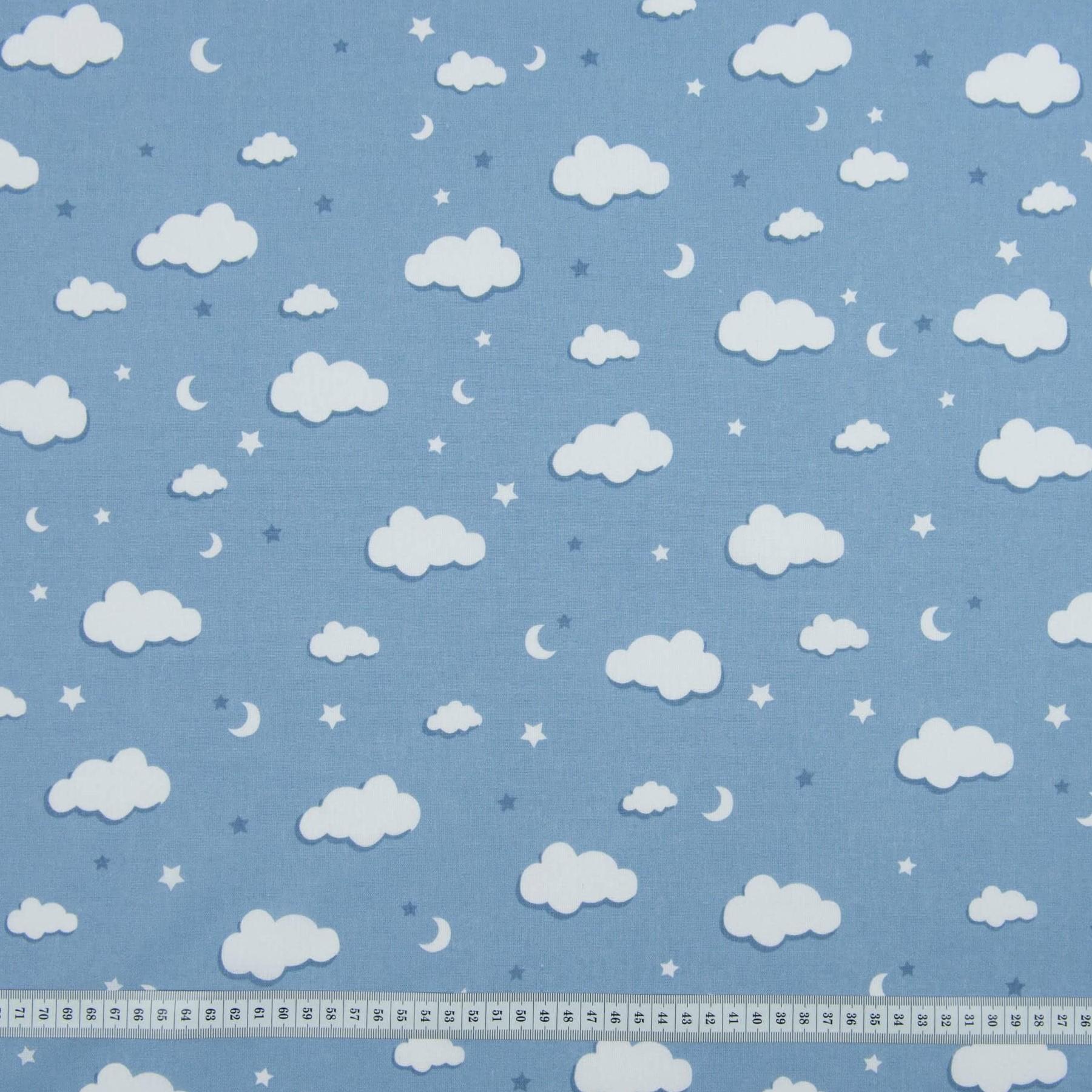 Хлопок Тучки синие, 50х55 см, плотность 120