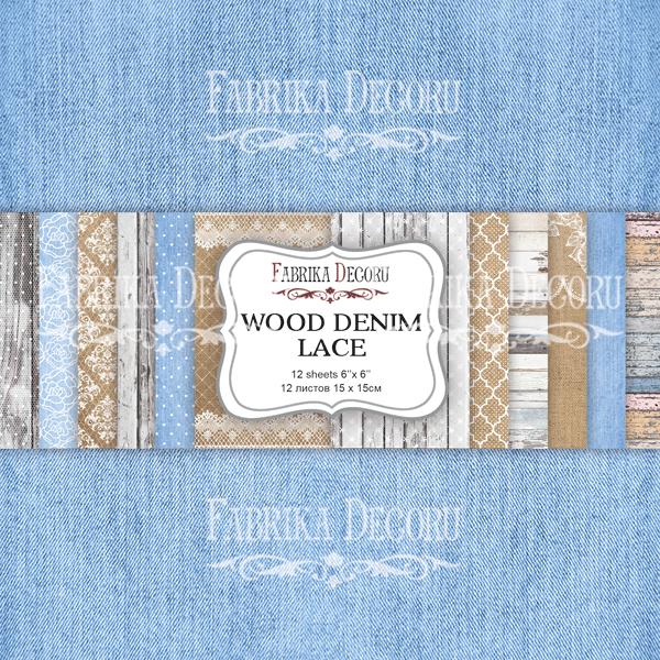 Набор скрапбумаги Wood denim lace 15x15см, Фабрика Декору