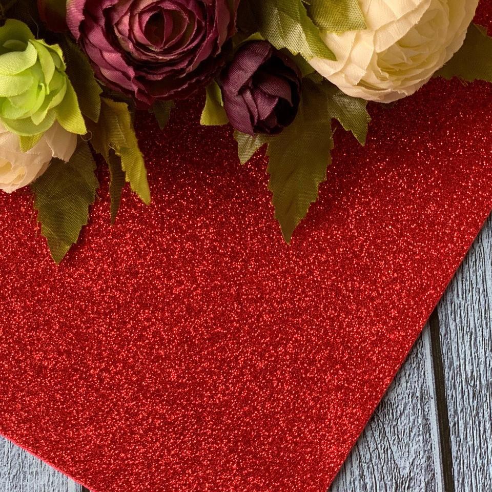 Фоамиран глиттер 20 х 30, красный, 2 мм