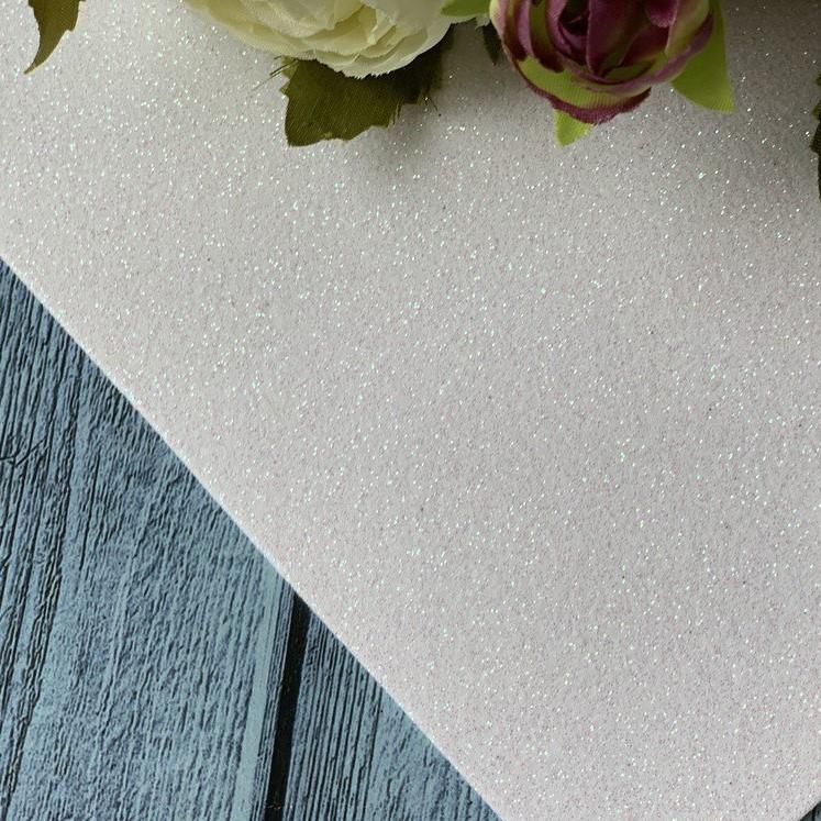 Фоамиран глиттер 20 х 30, белый, 2 мм