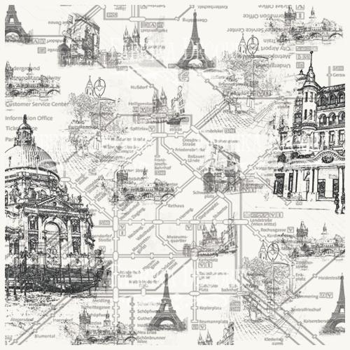 Деко веллум (лист кальки с рисунком) Город, Фабрика Декора