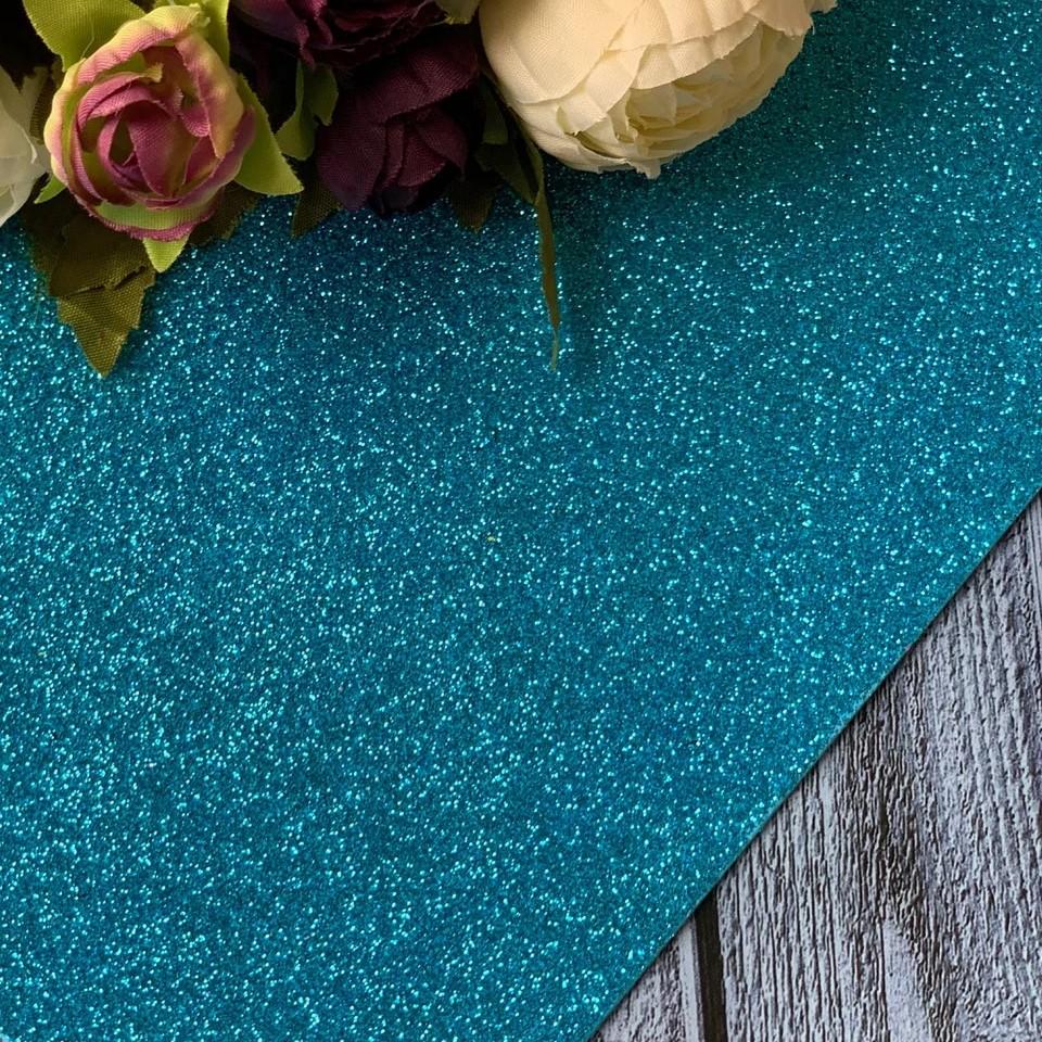 Фоамиран глиттер 20 х 30, голубой, 2 мм