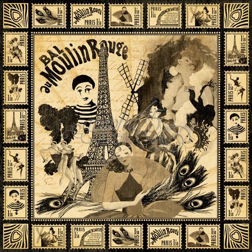 Двусторонняя скрапбумага Moulin Rouge от Graphic 45