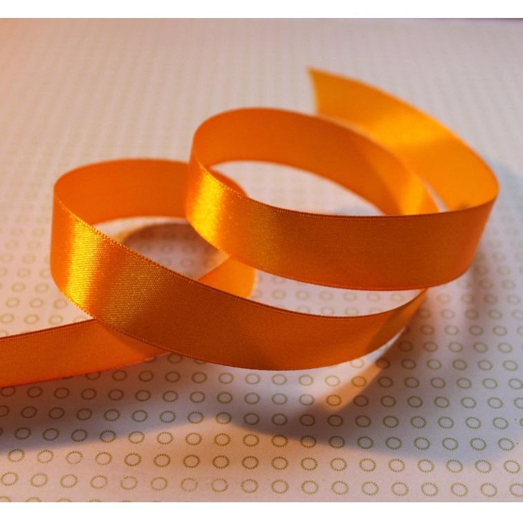 Атласная лента оранжевого цвета, длина 90 см, ширина 20 мм