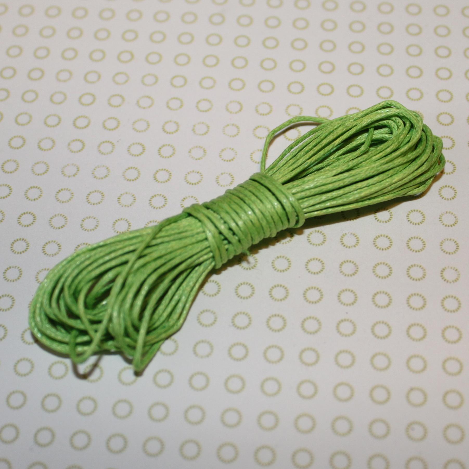 Вощеный шнур салатового цвета, 5 м