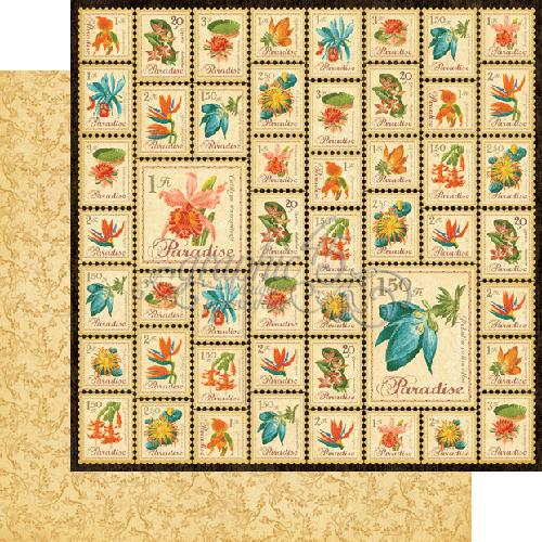 Двусторонняя бумага Paradise Postage 30x30 см от Graphic 45