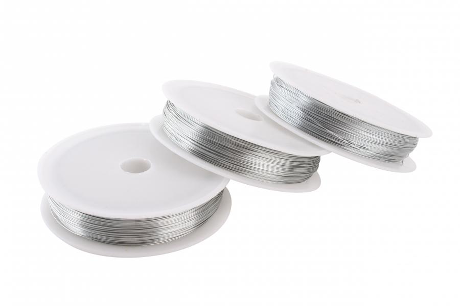 Проволока для рукоделия, серебро, 0,3 мм, 50 м