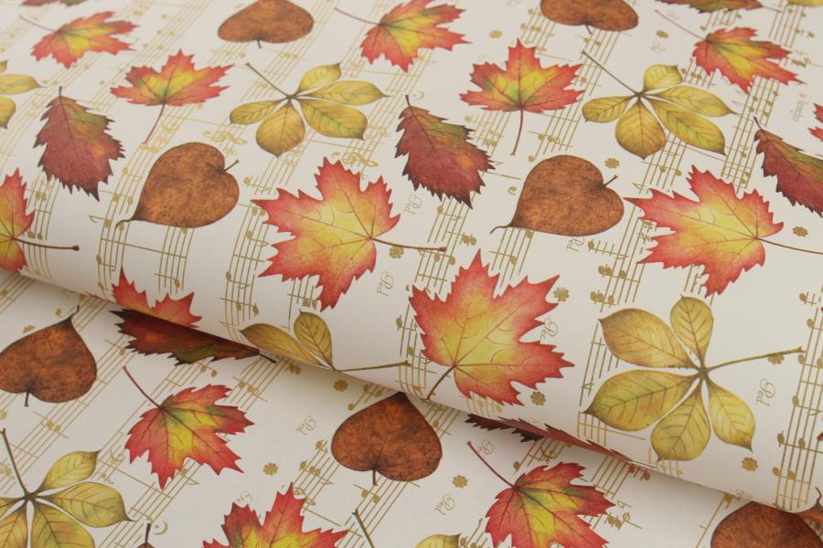 Бумага упаковочная, Кленовые листья, 70х50см, 80 г/м²