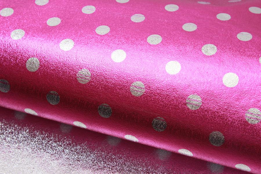 Бумага упаковочная, Горошек, малиново-серебристый, 70х50 см