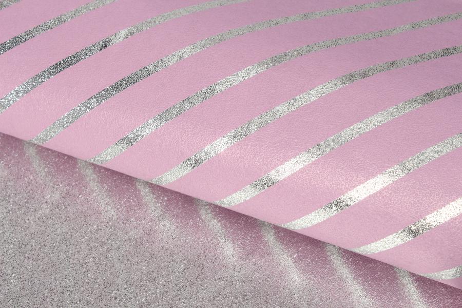 Бумага упаковочная, Полоска, пудрово-серебристый, 70х50 см